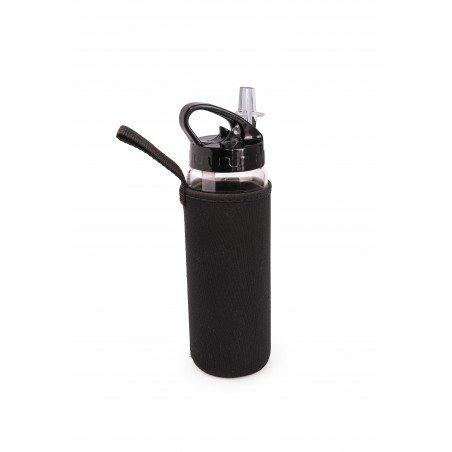 Botella de vidrio con boquilla + funda negra 525 ml.