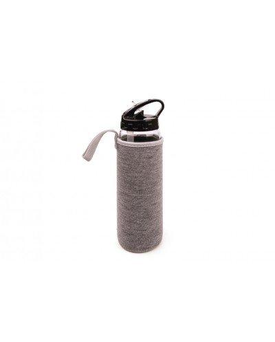 Botella de vidrio con boquilla + funda gris 525 ml.