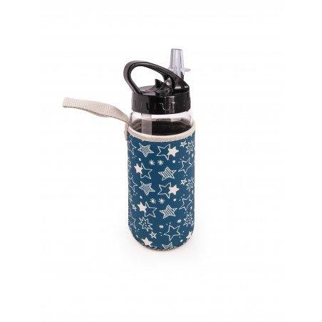 Botella de vidrio con boquilla + funda azul 400 ml.