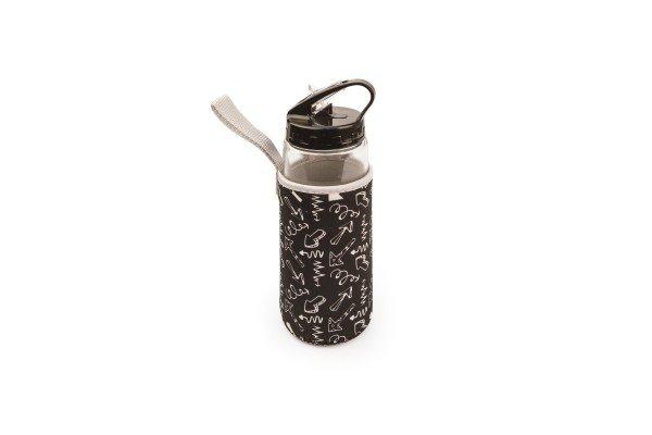 Botella de vidrio con boquilla + funda negra 400 ml.
