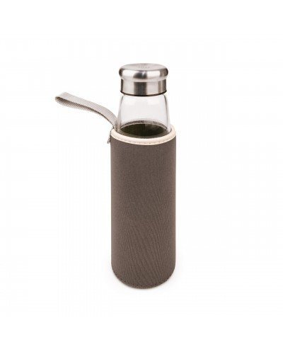 Botella Vidrio 550 ml + funda neopreno gris