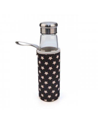 Botella Vidrio 550 ml + funda estrellas negra