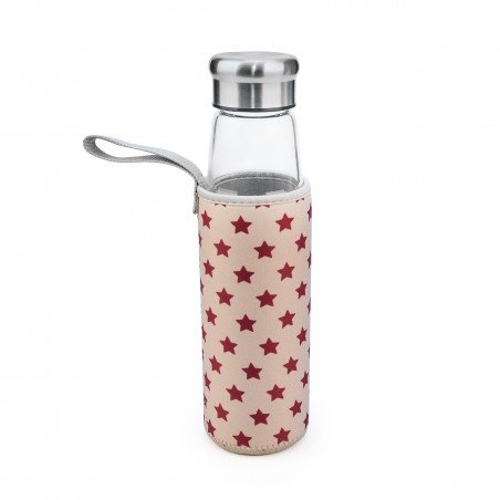 Botella Vidrio 550 ml + funda estrellas rosas