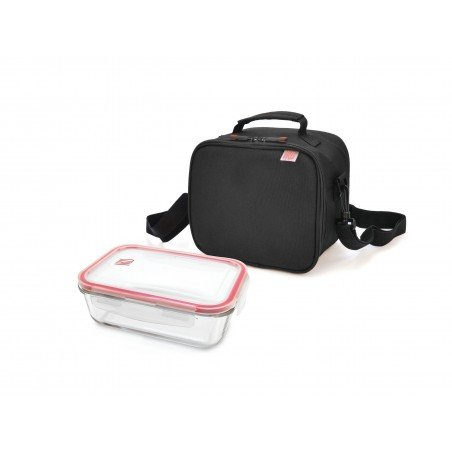 Recycled Lunchbag Negra con contenedor de Vidrio