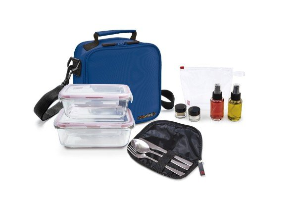 Pack Basic azul+ 2cont. vidrio + set aliño + cubiertos