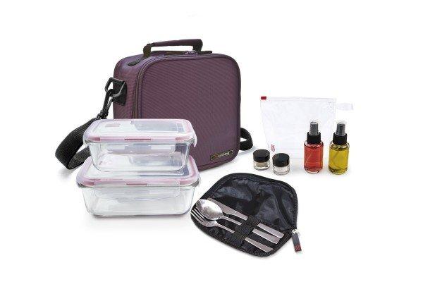 Pack Basic lila+ 2cont. vidrio + set aliño + cubiertos
