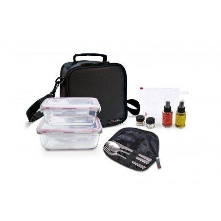 Pack Basic negra+ 2cont. vidrio + set aliño + cubiertos