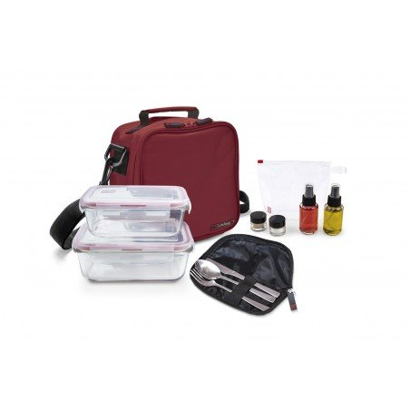 Pack Basic roja+ 2cont. vidrio + set aliño + cubiertos