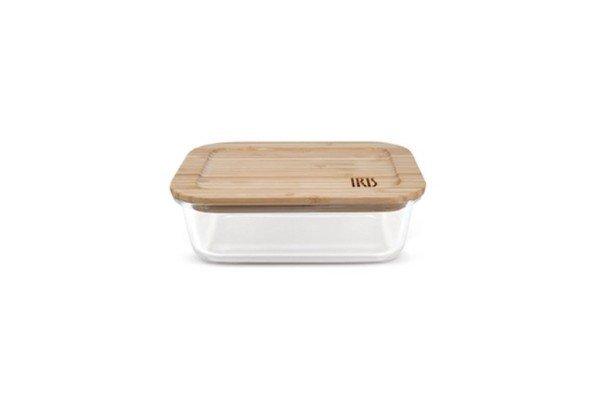 Contenedor de Vidrio y Tapa de Bambú 0,37L