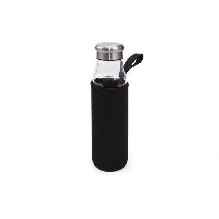 Botella Vidrio 550 ml + funda neopreno negra