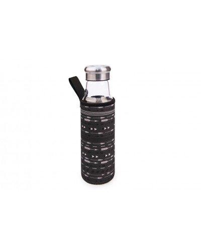 Botella Vidrio 550 ml + funda Boho negra